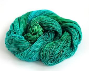 Handdyed 4ply sock yarn, fingering merino donegal fleck knitting wool, blue green crochet Perran Yarn Woodland Glade, uk natural fibre