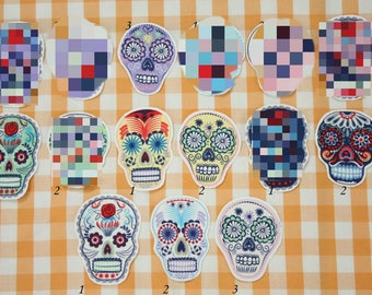 Dia de los Muertos Skull Iron-on Patches