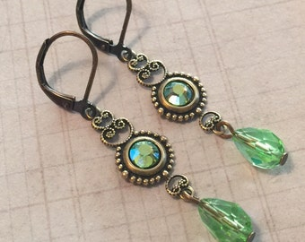 Crystal Earrings -  Crystal Jewelry - Antiqued Brass Filigree - Leverback Earrings - Peridot AB