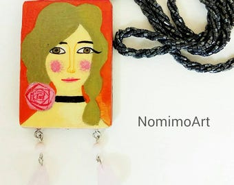 Painted wood necklace , long pendant necklace , wearable art necklace , illustrated jewelry , arttowear