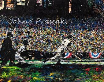 Baseball wall art, Baseball history, Game room wall art, Pittsburgh Forbes Field, Johno Prascak, Johnos Art Studio
