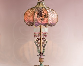 SOLD Do Not Buy | Luxembourg Art Nouveau Table Lamp withFrench Ribbonwork ad M