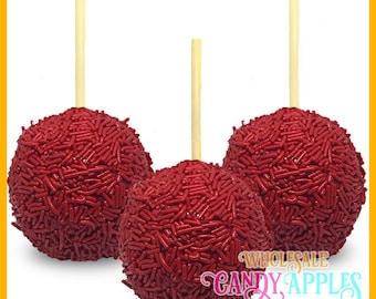 Red Sprinkle Mini Hard Candy Apples- 1 dozen