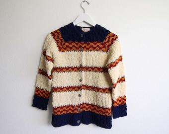VINTAGE Strickjacke Womens Pullover 1960er Jahre Nubby stricken Streifen klein