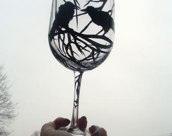 1 Hand painted raven heart wine glass