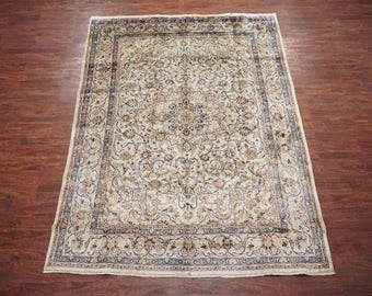 Persian 8X11 Antique Green Kashan Hand-Knotted Oriental Wool Area Rug 1940's Carpet (7.11 x 11.1)