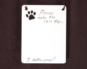 Please Make The Rain Stop! Memo Board Ceramic Tile Dry Erase Hanging Message Board