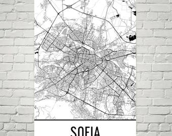 Sofia map art Etsy