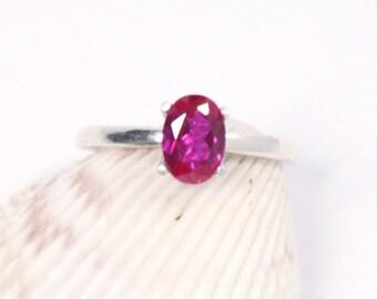 Ruby Ring, Silver Ring, Size 5, Silver Ruby Ring, Sterling Silver, Solitaire Ring, Ruby Solitaire, Lab Ruby, Oval Ruby, Gemstone Ring