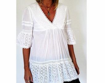 Hippie chic cotton tunic