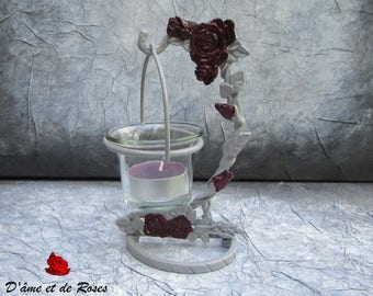 Plum pink grey candle with glass for the candle jar