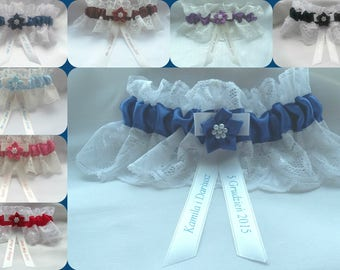 personalised white or ivory lace & satin wedding brides bridal bridesmaid gift garter