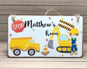 Personalised Construction Boys Room Sign, Kid's Name Plaque, Bedroom Door Plaque, Boys Door Sign, Construction Name Plaque