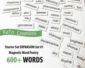 Starter Expansion Set #1 Word Magnets - Word Poems - Fridge Magnets - White Board Word Magnets