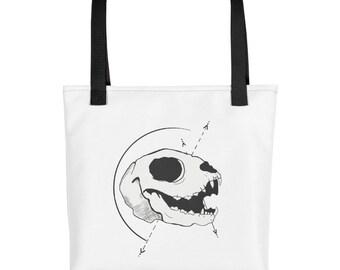 Tattoo Cat Skull Drawing Tote bag