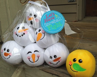 Indoor snowball fight - lets have a snowball fight - Handmade in Michigan - indoor snowmen snowballs