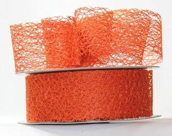 """Orange Mesh Ribbon- 1.5"""" x 20 yds"""