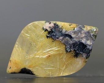 Gold Rutile Quartz & Hematite Natural Polished Gemstone Stone (CA8351)