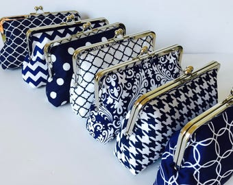 Bridesmaid Clutch Purse Set -  Navy and White,  Bridesmaid Gift, Wedding Accessory, Custom Clutch Set, Wedding Party Purse, Christmas gift