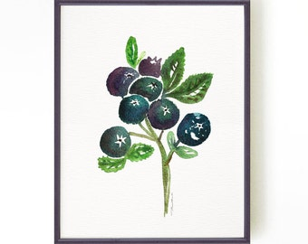 Blueberries Watercolor Painting Kitchen Art Fruit Print Blueberry Art Print Kitchen Wall Art Blue Fruit illustration Home Decor Wall Art