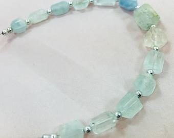 1 Strand Aquamarine Beaded Necklace @AB43