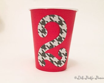 Red Paper Party Cup with Glitter Number or Monogram - 9 oz cups - Set of 12