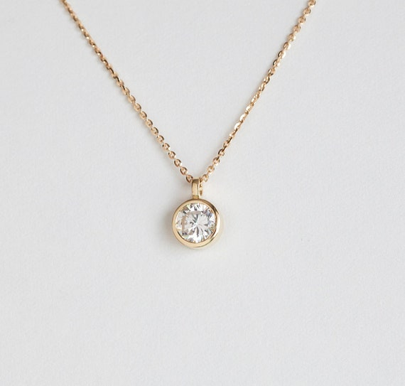 cfm and forevermark solitaire gold pendant diamond necklace double detail round bail white king jewelers