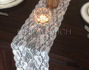 "Off White Lace Table Runner Wedding Table Runner Floral Swirl 7"" wide"