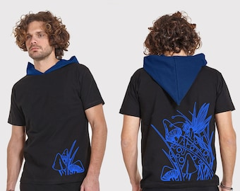 Mens elfen hooded tshirt with glow print ELF-neon print, psy clothing - blacklight active-Festival Wear-psychedelic clothing-Burning man
