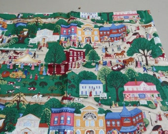 QUAINT Village Scene FABRIC reminds me of a Charles Wysocki jigsaw puzzle!