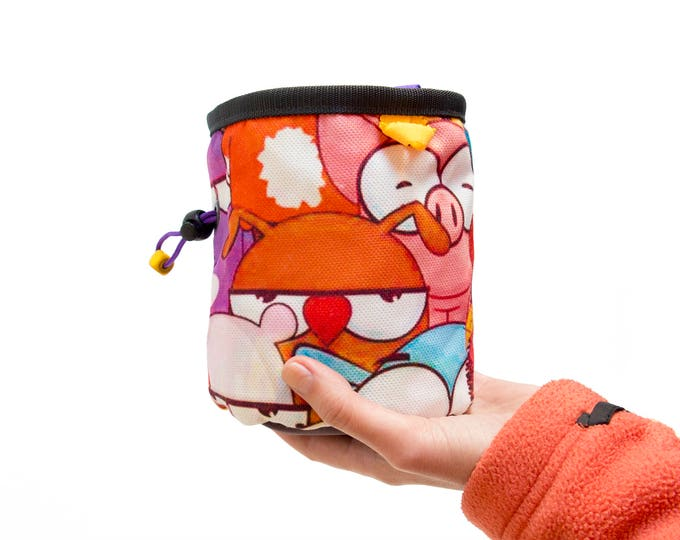 Rock Climbing Gear. Colorful Chalk Bag. Rock Climber Gift For Climbers, L Size