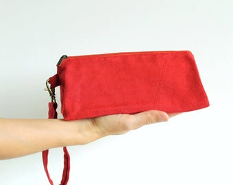 Organic cotton wristlet, red pouch, cosmetic bag, makeup organizer, toiletry kit, pencil case, vanity bag, triangular - The Ruby Prism Pouch
