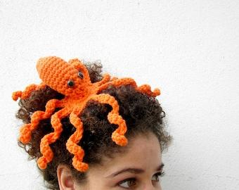 Octopus Statement Fascinator. Fun Whimsical Sea Creature Hair Clip. Nerdy Tentacle Geek Barrette. Fantasy Costume Amigurumi Headpiece.