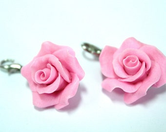 Miniature Polymer Clay Flowers, Roses Charm Handmade Jewelry gifts 2 pcs