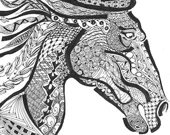 zentangle art, horse, zentangle horse, black and white