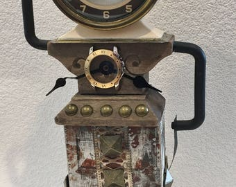 Steampunk Assemblage Art Doll,Time Warrior,Grunge Art,Raw Creation,Outsider Art,Brut Art,Recycled,Found Item Art,Time Stands Still,Timeless