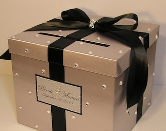 Wedding Card Box Silver and Black Gift Card Box Money Box  Holder--Customize in your color/made to order (10x10x9)