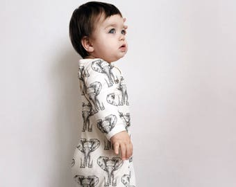 Babygrow - Organic Romper - Baby Onesie - Baby Clothing - Elephant Babygrow - Baby Gift - Baby Romper
