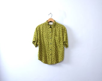 Vintage 80's lime green tribal print blouse, women's size large