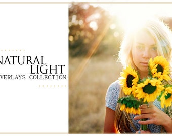 55 Natural Sun Light Photoshop Overlays: Backlight Photo Layer, Digital Backdrop for Photographers, Fairy Glow Effect Diffused Romantic Rays