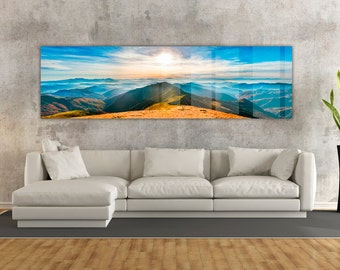 Stunning Mountain Sunset HD Acrylic Print- Museum Quality! Perfect for Livingroom or Office. Ready to hang