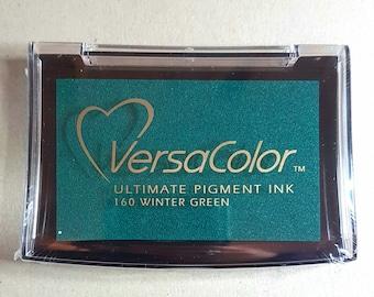 VersaColor Pigment Ink Pad Large in Winter Green Ink for stamp - Green Ink Pad - Versa Color - Colour Ink Pad - Christmas Ink - Green Inkpad