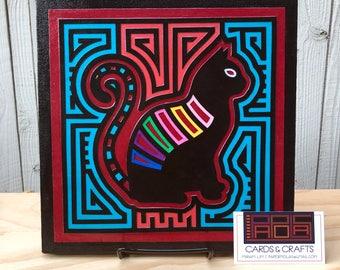 Cat Folk Art Print, Mola Wall Decor, Home Decor, Housewarming Gift, Room Decor, Cat Lover, Black Cat, Gift for Cat Lover, Pet Lover