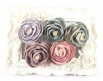 Satin Fabric Tulip Flowers, Satin Rosette with CLIP, Fabric Flower, Wholesale Flower, Embelishment, Headband Supplies, DIY Headband  Supply