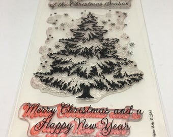 Merry Christmas Clear Stamp set / Scrapbooking / Card Making Supplies / Art and Crafts / Christmas Tree Stamp / Holiday Stamp