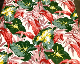 "Spectacular Vintage 40s Caladium and Foliage Tropical Barkcloth Fabric// Hollywood Glam// Cotton Yardage// Upholstery// Home Decor//36""x86"""