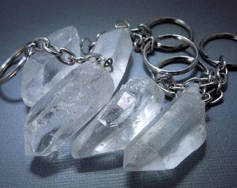 Crystal Quartz-- Crystal Quartz Keychain- Natural Quartz Crystal Nugget Keychain