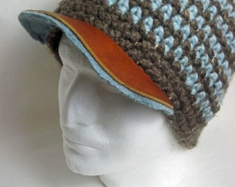 Tony Leather Brim- Light Blue/Taupe