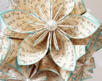 """A Dozen """"I Love You's"""" - 12 paper flowers, wedding, 1st anniversary gifts for her,bouquet,origami, made to order, turquoise, home decor"""