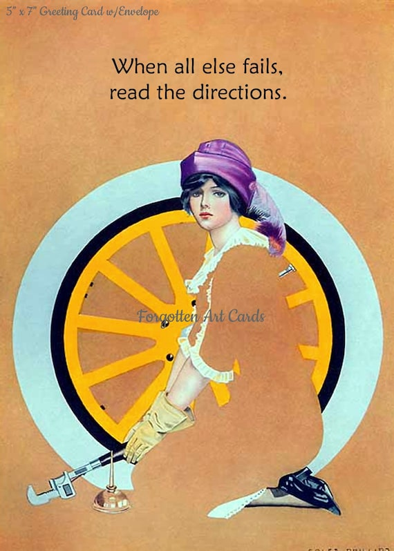 "When All Else Fails Read The Directions Coles Phillips Fadeaway Lady 5""x7"" Greeting Card + Envelope Art Deco Car Tire Forgotten Art Card"